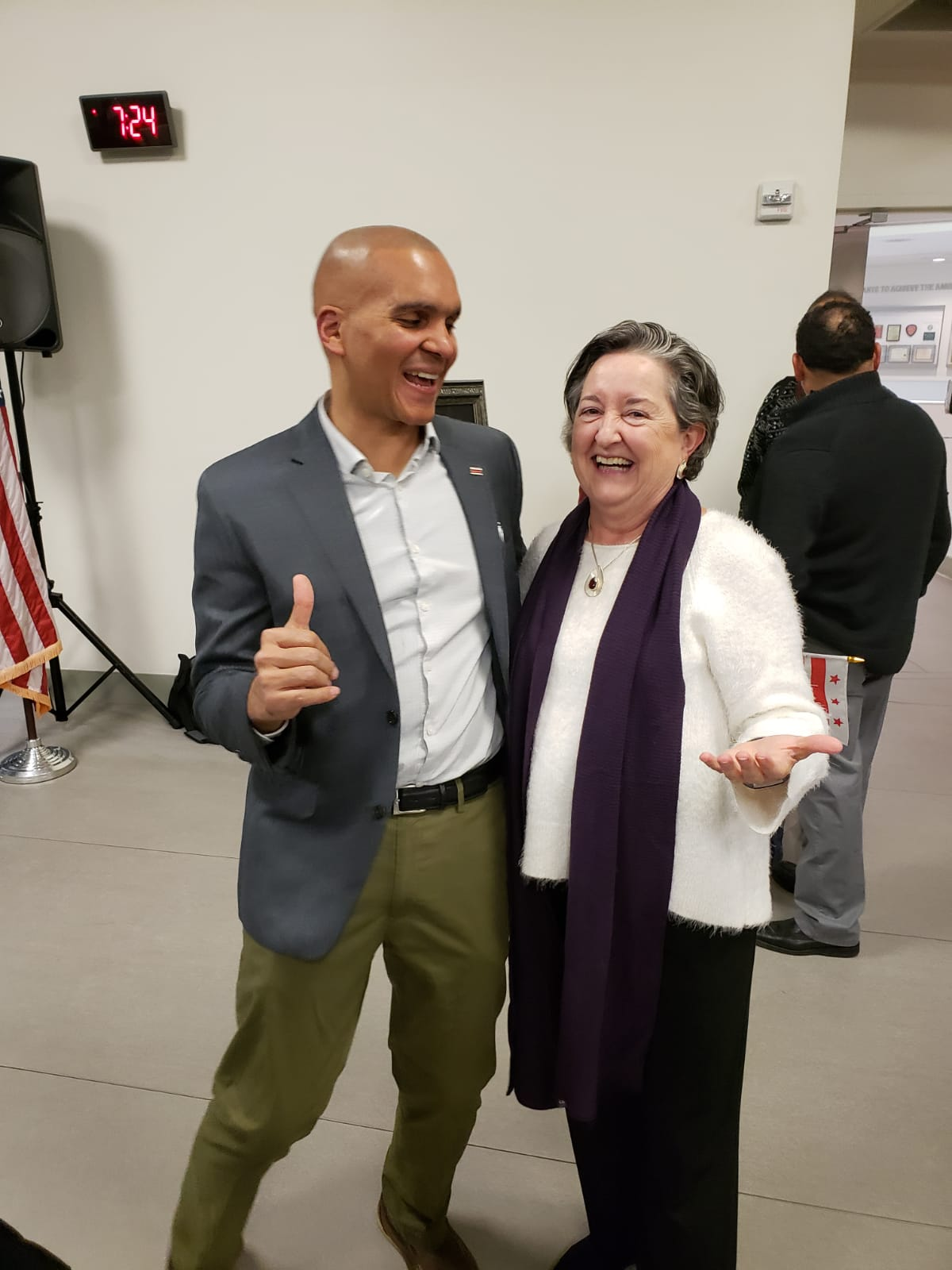 Franklin Garcia poses with Bibi Otero long time Latino community leader at the December 14th reception celebrating the life of Pepe Lujan.