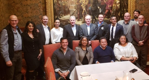 Pictured in the 'tableau' photo are (standing left to right) Jon Seavey, Gilbane Construction; Edith Yañez, MDCHCA; Russell Phillips, Cohn Reznick; Jessica Elias, Gilbane; Chris Kerns, Fort Myer Construction; Jim Christian, Consigli Construction; Billy Rocha, FH Paschen Construction; Luis Clavijo, First Citizens Bank; Stephen Courtien, Balt./Wash. Building Trades Unions, Mark Bellingham, Monarc Construction, (Seated l to r) Edwin Villegas, Winmar Construction; Tyra Redus, Skanska Construction; Carlos Perdomo, Keystone Plus Construction and Carolyn Ellison, Turner Construction.