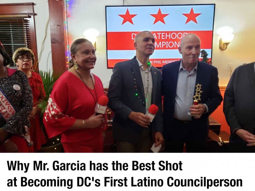 Franklin Garcia at his recent holiday celebration with DC Council Chairman Phil Mendelsohn and Silvia Martinez of the DNC.