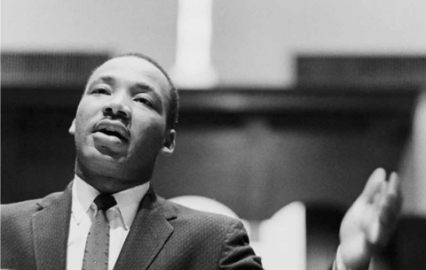 Dr. Martin Luther King Jr. preaching from his pulpit in 1960 at the Ebenezer Baptist Church in Atlanta, Georgia.
